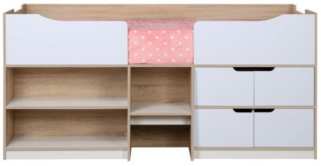 Birlea Paddington White and Light Oak Cabin Bed