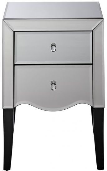 Palermo Mirrored Bedside Cabinet - 2 Drawer