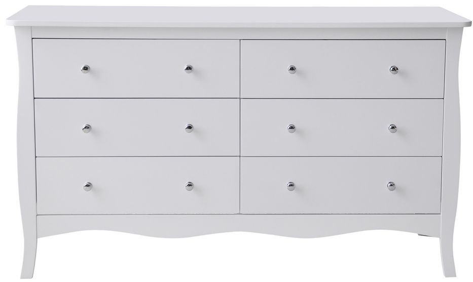 Birlea Paris White 6 Drawer Large Chest