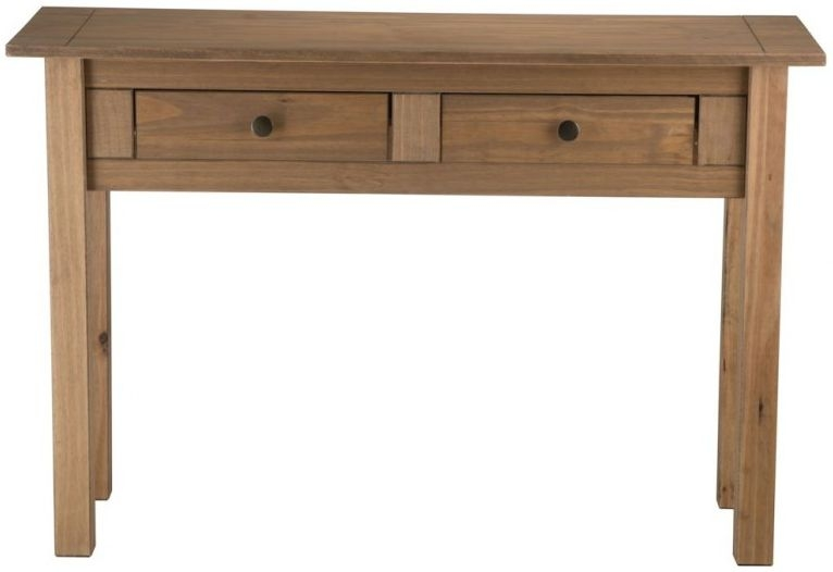 Porto pine 2 drawer console table - Pine sofa table with drawers ...