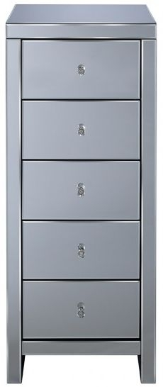 Seville Mirrored Chest of Drawer - 5 Drawer Narrow