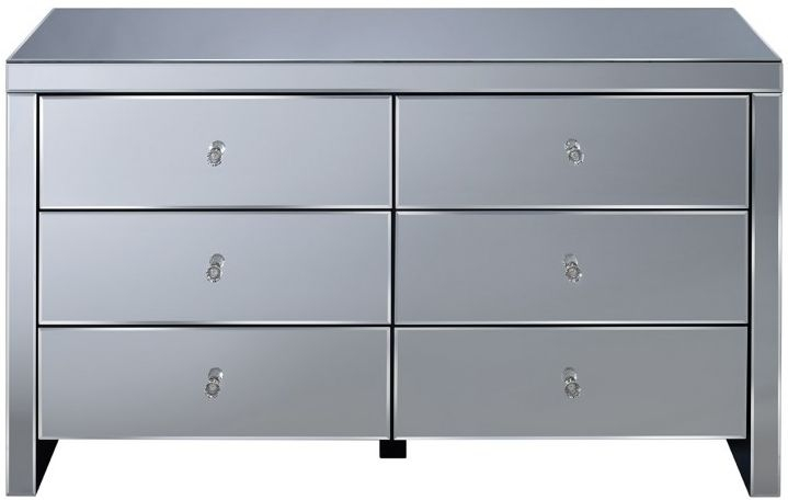 Seville Mirrored Chest of Drawer - 6 Drawer