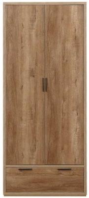 Birlea Stockwell Oak 2 Door 1 Drawer Wardrobe