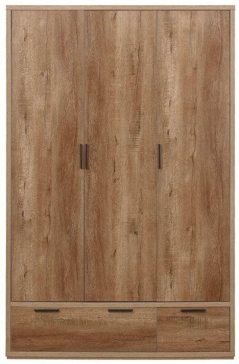 Birlea Stockwell Oak 3 Door 2 Drawer Wardrobe