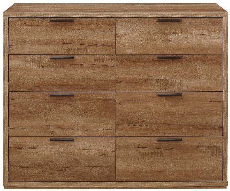 Birlea Stockwell Oak 8 Drawer Large Chest
