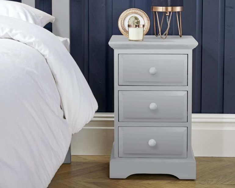 Suffolk Dove Grey Bedside Cabinet - 3 Drawer