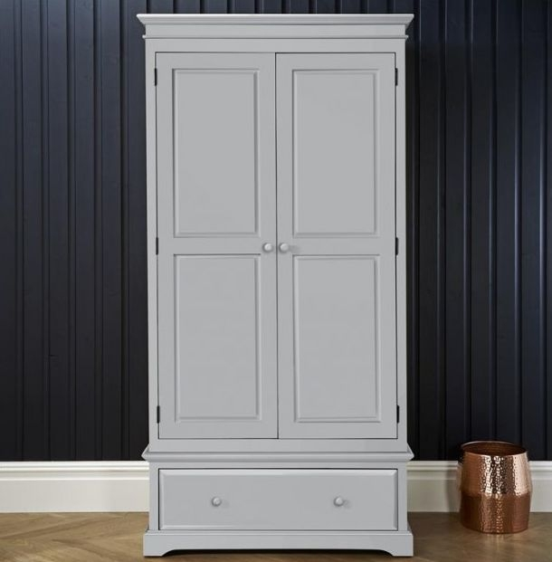 Suffolk Dove Grey Double Wardrobe - 2 Door 1 Drawer