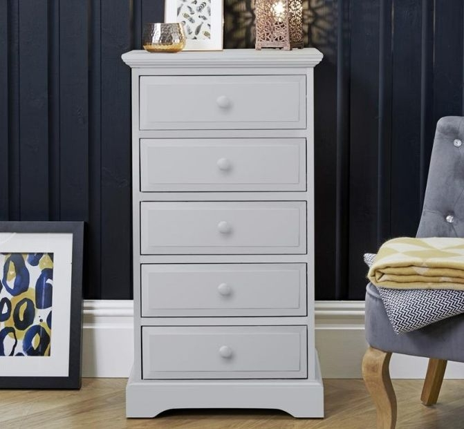 Suffolk Dove Grey Narrow Chest of Drawer - 5 Drawer