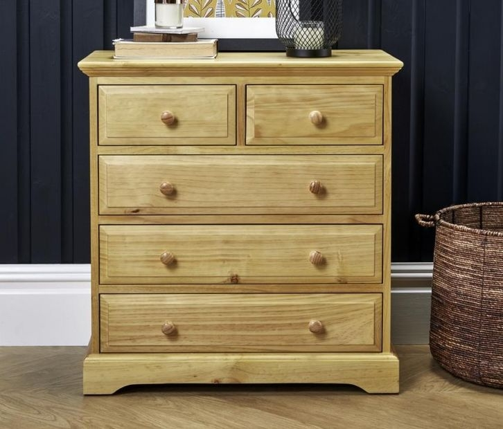 Suffolk Natural Pine Chest of Drawer - 3+2 Drawer
