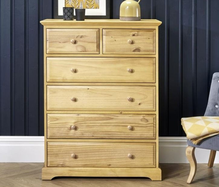 Suffolk Natural Pine Chest of Drawer - 4+2 Drawer
