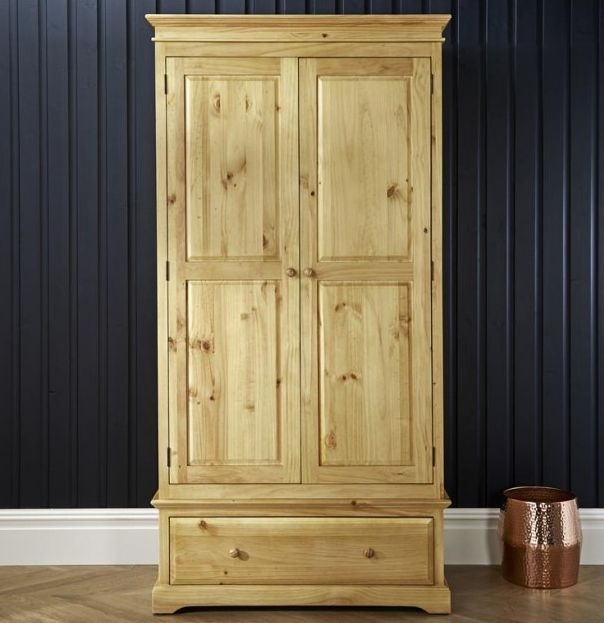 Suffolk Natural Pine Double Wardrobe - 2 Door 1 Drawer