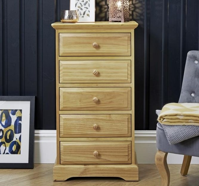Suffolk Natural Pine Narrow Chest of Drawer - 5 Drawer