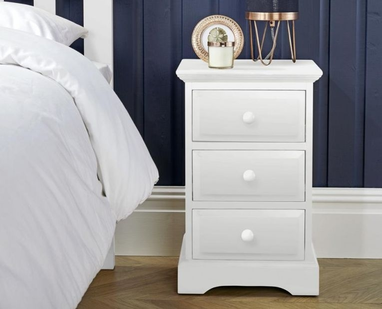 Suffolk White Bedside Cabinet - 3 Drawer