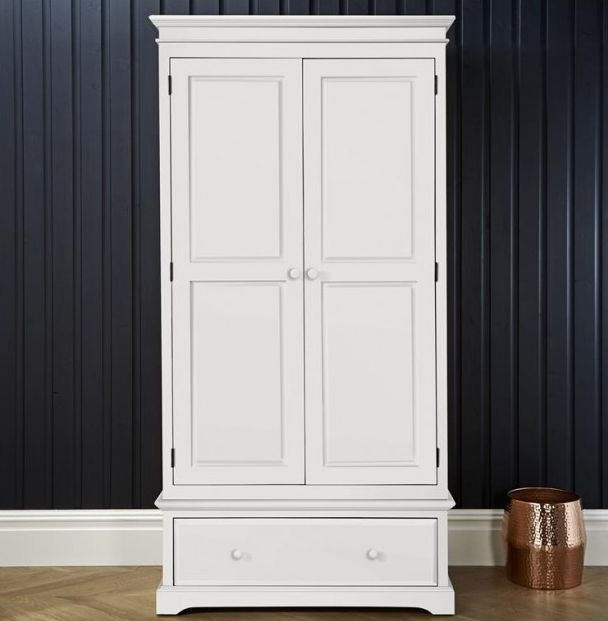 Suffolk White Double Wardrobe - 2 Door 1 Drawer