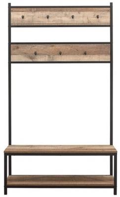 Birlea Urban Rustic Coat Rack and Bench with Metal Frame