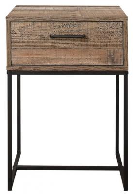 Birlea Urban Rustic Narrow Bedside Cabinet with Metal Frame