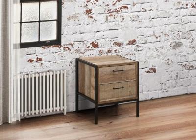 Birlea Urban Rustic Bedside Cabinet with Metal Frame