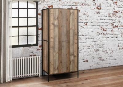 Birlea Urban Rustic 2 Door Wardrobe with Metal Frame