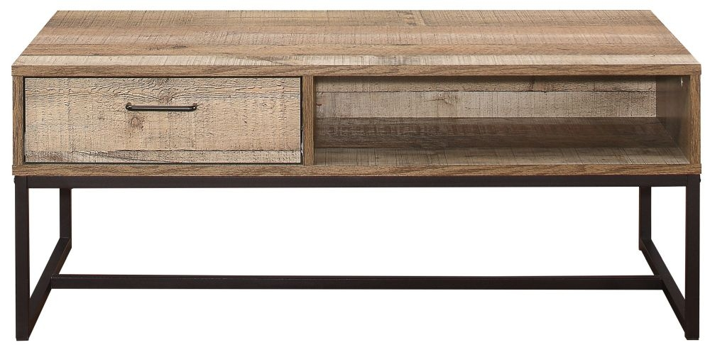 Birlea Urban Rustic Storage Coffee Table with Metal Frame