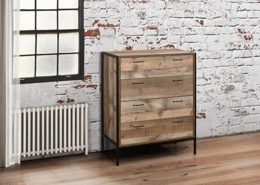 Birlea Urban Rustic 4 Drawer Chest with Metal Frame
