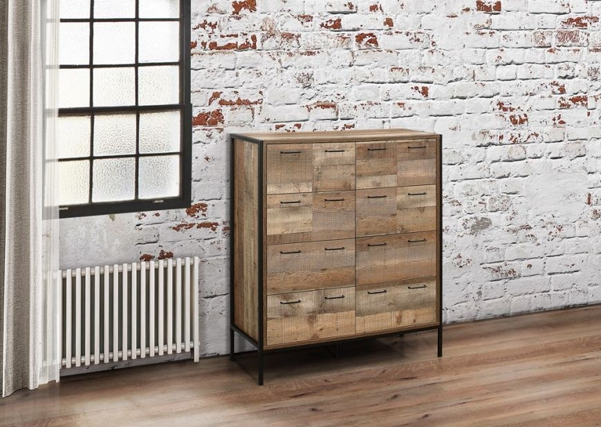 Urban Rustic Merchant Chest of Drawer with Metal Frame - 12 Drawers