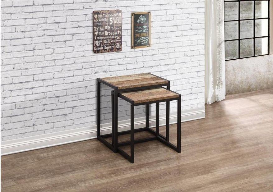 urban rustic furniture. Urban Rustic Nest Of Tables With Metal Frame Furniture