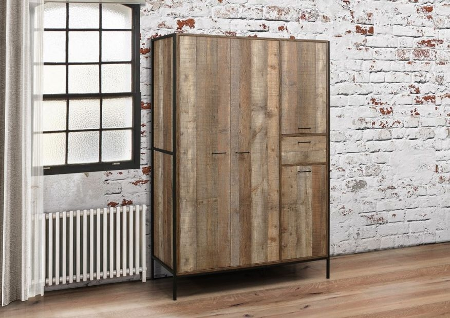 Birlea Urban Rustic 4 Door 1 Drawer Wardrobe with Metal Frame