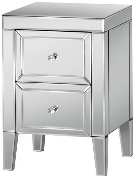 Valencia Mirrored Bedside Cabinet - 2 Drawer