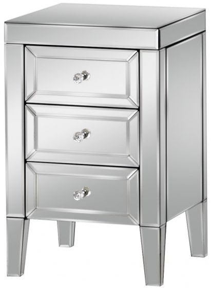 Valencia Mirrored Bedside Cabinet - 3 Drawer