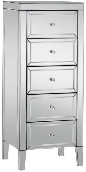 Valencia Mirrored Chest of Drawer - 5 Drawer Narrow