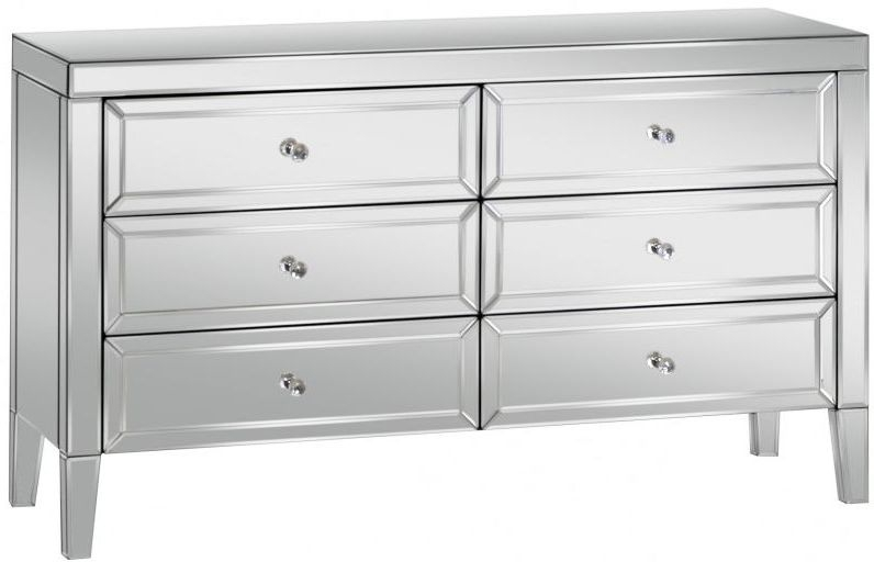 Valencia Mirrored Chest of Drawer - 6 Drawer