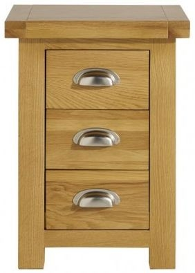 Birlea Woburn Rustic Solid Oak 3 Drawer Small Bedside Cabinet