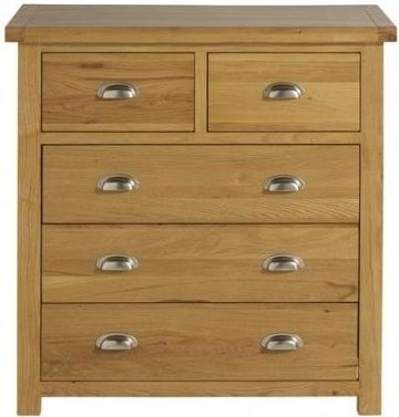 Woburn Rustic Solid Oak Chest of Drawer - 3+2 Drawer