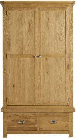 Birlea Woburn Rustic Solid Oak 2 Door 2 Drawer Double Wardrobe