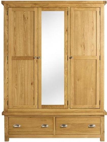 Woburn Rustic Solid Oak Triple Wardrobe - 3 Door 2 Drawer