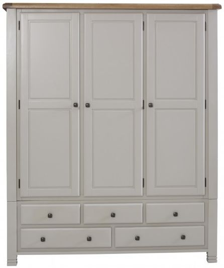 Birlea Woodstock Grey Wardrobe - 3 Door 5 Drawer