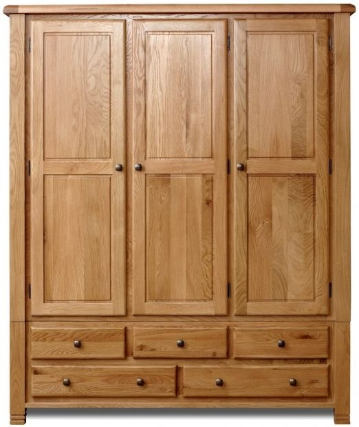 Birlea Woodstock Oak Wardrobe - 3 Door 5 Drawer