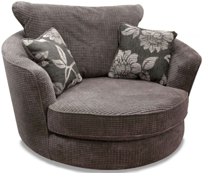 Buoyant Paris Lush Charcoal Fabric Snuggle Swivel Chair