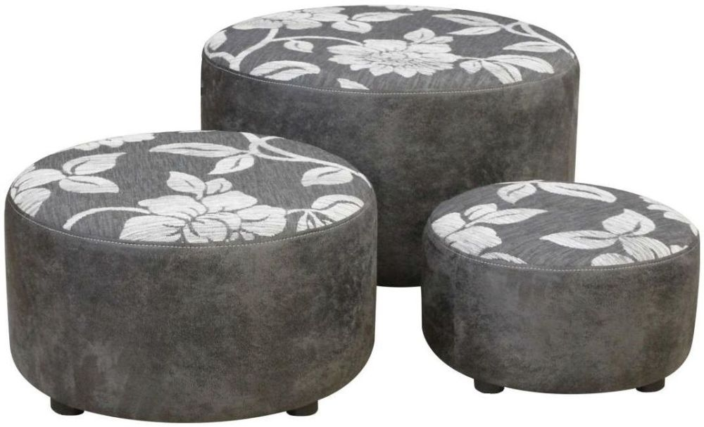 Buoyant Dollie Rodeo Gunmetal and Lily Grey Fabric Footstool