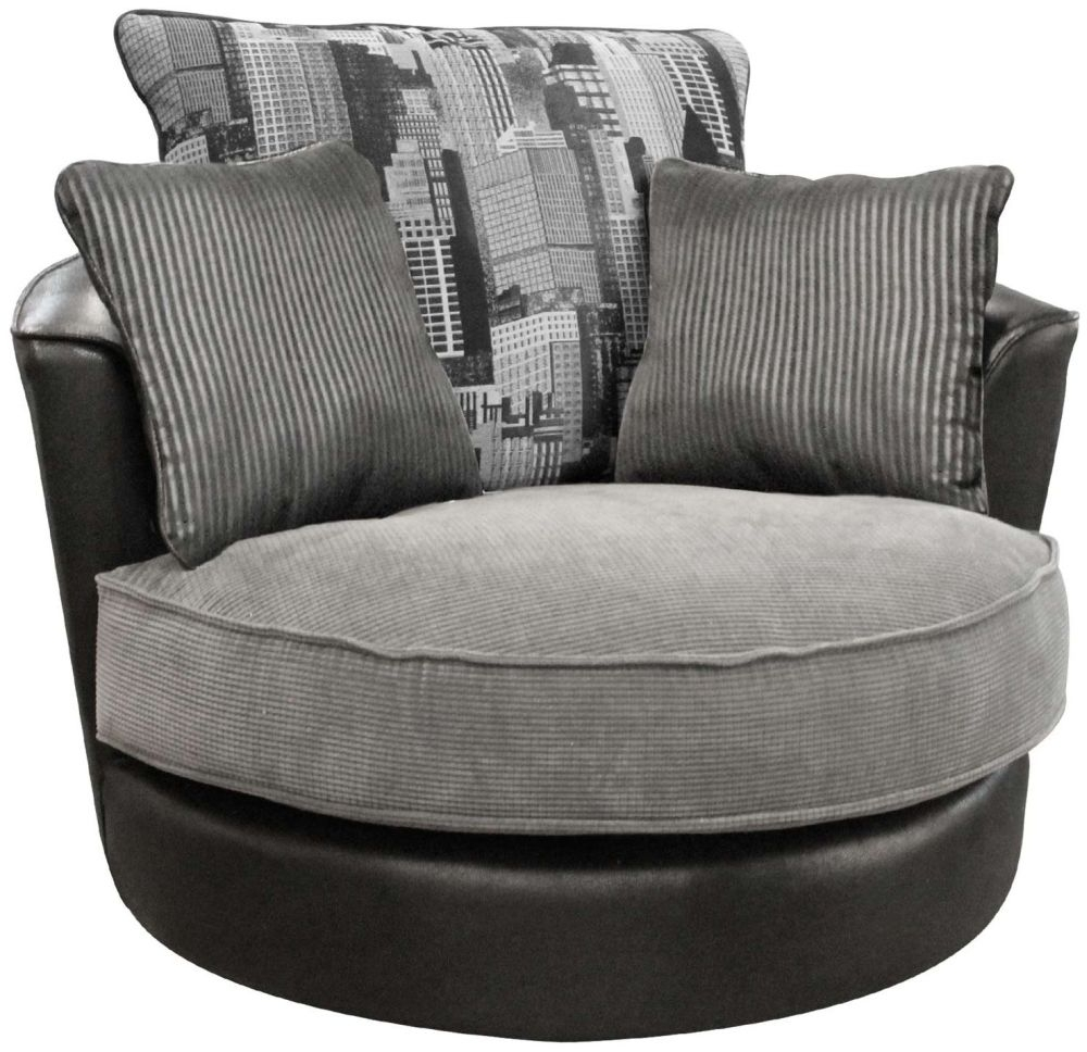 Buoyant Luman Morocco Black Fabric Swivel Chair
