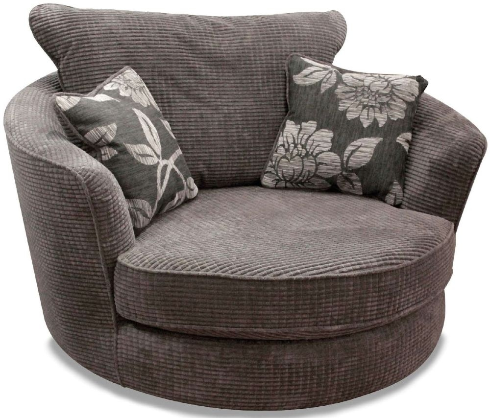 Beau Buoyant Paris Lush Charcoal Fabric Snuggle Swivel Chair With Lily Grey  Cushion