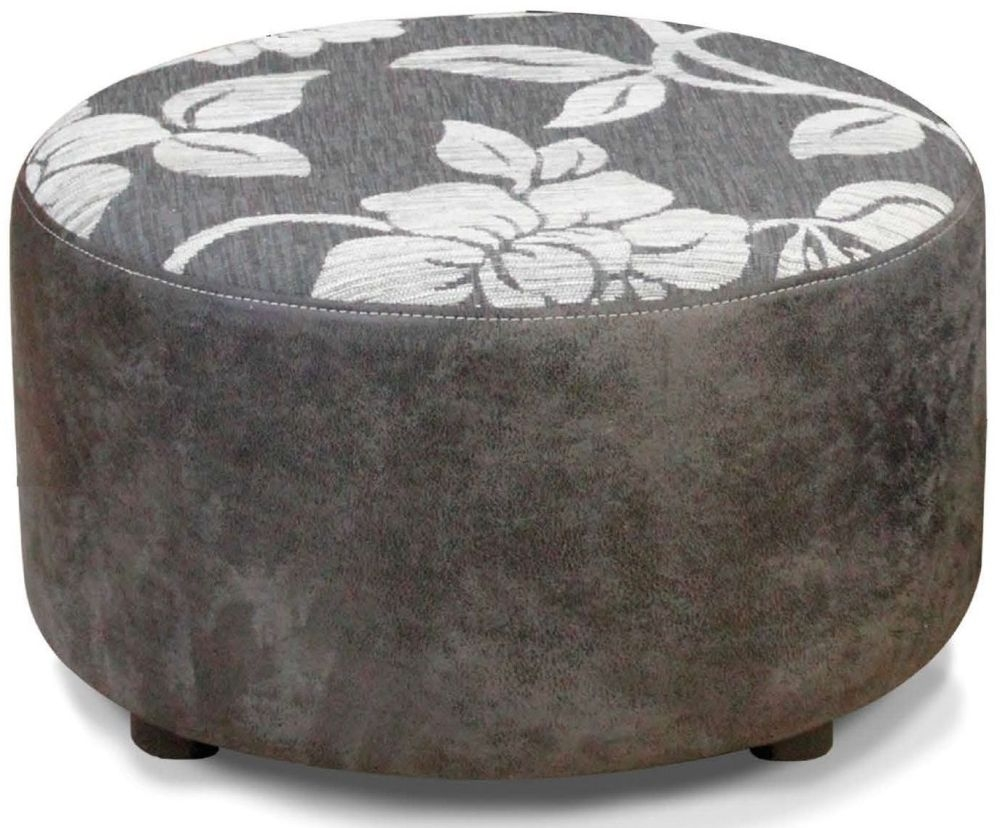Buoyant Virginia Lily Grey and Rodeo Gunmetal Fabric Footstool