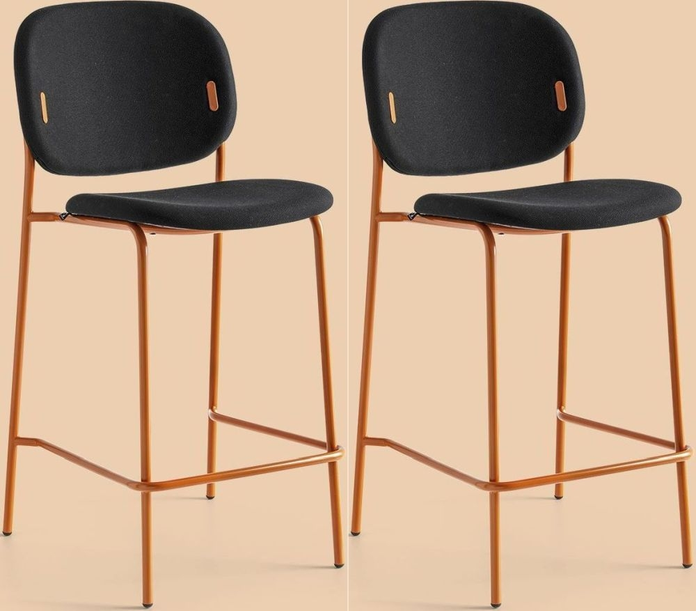 Connubia YO Metal and Fabric Bar Stool with Footrest (Pair) CB1987-SP