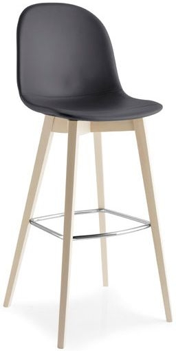 Connubia Academy W Wood and Synthetic Fabric Bar Stool with Footrest CB1673-Regenerated