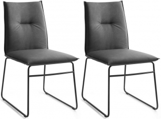 Connubia Maya Upholstered Soft Fabric Vintage Dining Chair with Sled Base (Pair)