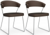 Connubia New York Upholstered Soft Leather Dining Chair with Sled Base (Pair)