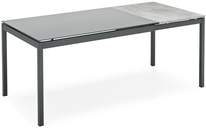 Connubia Snap Glass and Metal Rectangular Extending Dining Table - 120cm-180cm