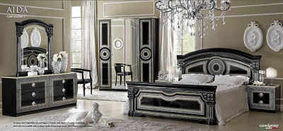 Camel Aida Black and Silver Italian Bedroom Set with 4 Door Wardrobe