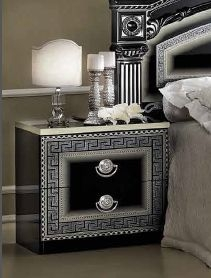 Camel Aida Black and Silver Italian Bedside Cabinet