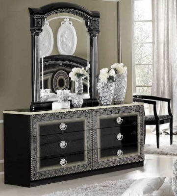Camel Aida Black and Silver Italian Dresser - Double with Mirror
